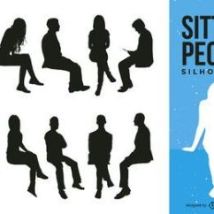 Posture Office Stool Chair Plastic People Sitting In Chairs Silhouettes - Vector Download