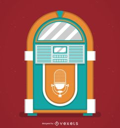 vintage music jukebox illustration [ 1600 x 1600 Pixel ]