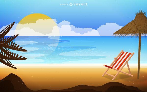 beach landscape sunrise illustration