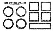 rope brushes and frames set - vector