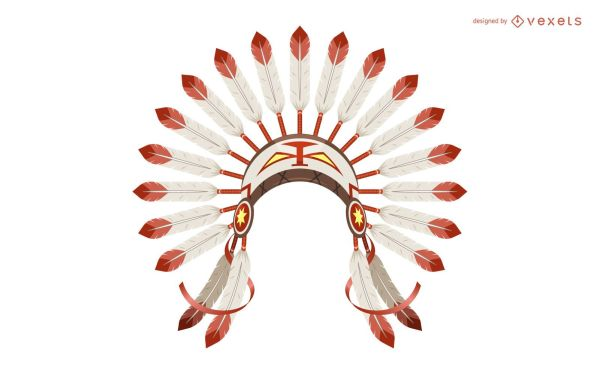 Indian Feather Headdress Illustration - Vector