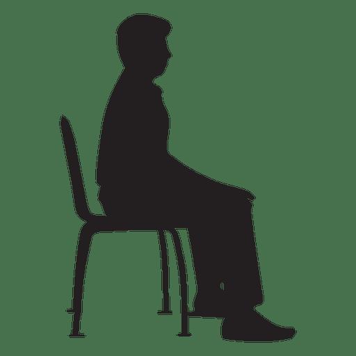 Hombre sentado en la silueta de la silla  Descargar PNG