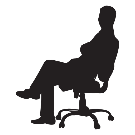 swivel chair em portugues office bungee man sitting on silhouette transparent png svg vector