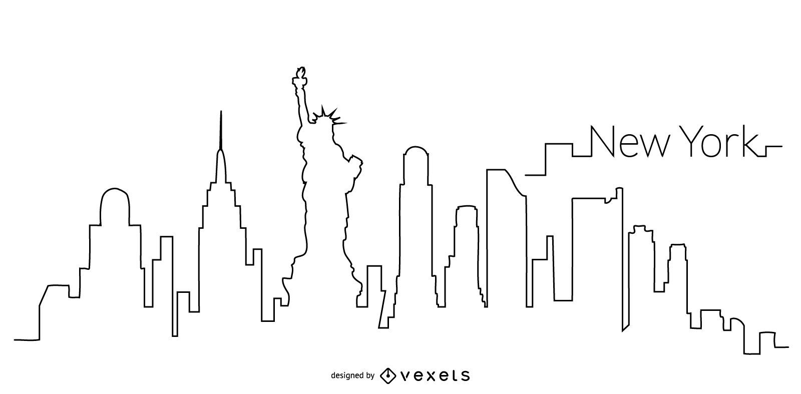 New York Skyline Outline