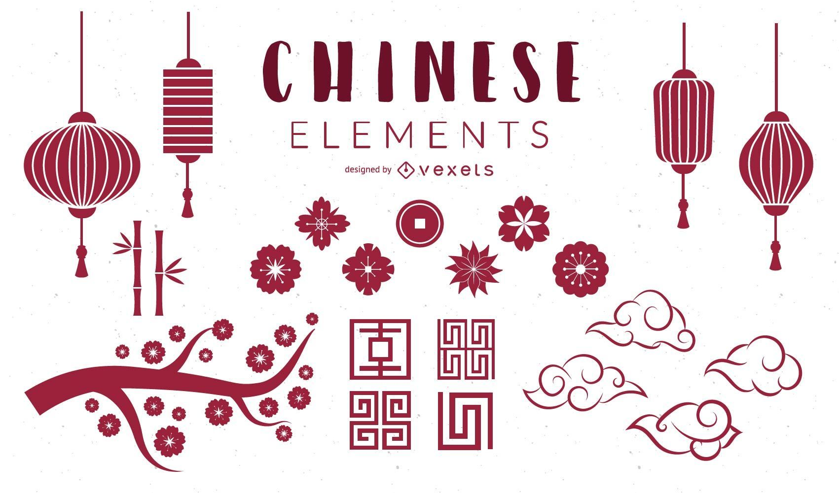 chinese elements set vector