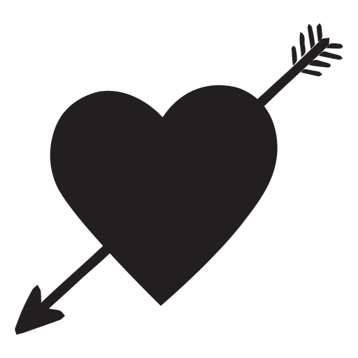 Download Heart with arrow silhouette - Transparent PNG & SVG vector ...