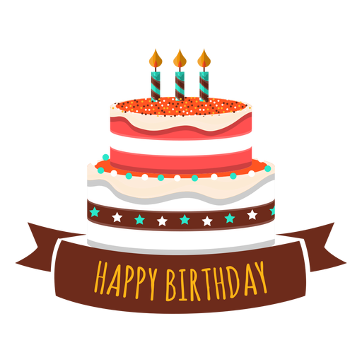 Happy Birthday Cake Candle Fire Star Heart Sticker Transparent Png