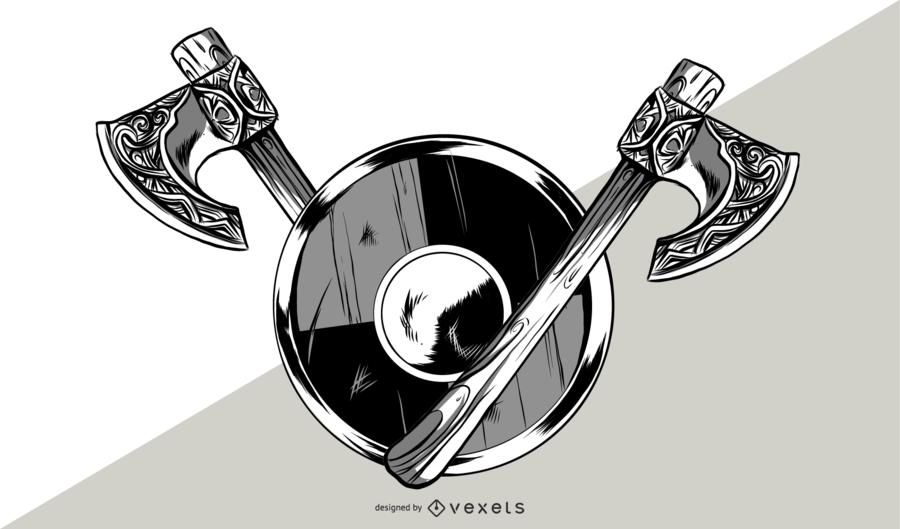 vikings axe and shield