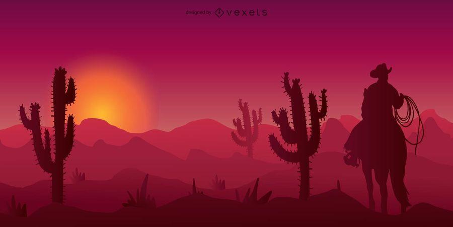 cowboy western desert silhouette