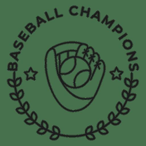 Baseball champions glove ball star branch badge stroke