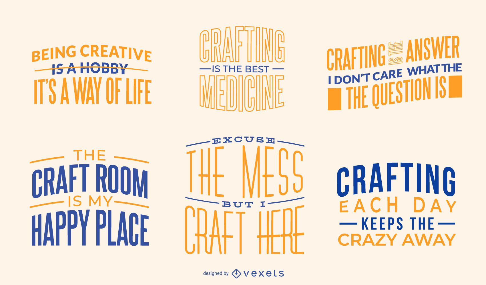 Crafting Quotes Lettering Pack Vector Download