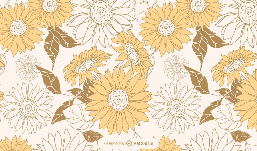 Sunflowers Floral Pattern Design - Vector Download