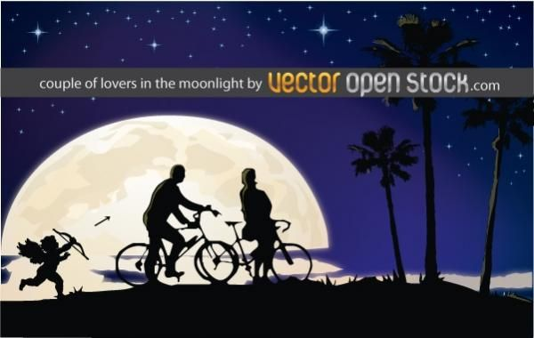 Download Couple Of Lovers In The Moonlight - Vector Download