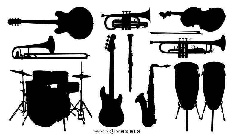 silhouette vector music instrument - vector download