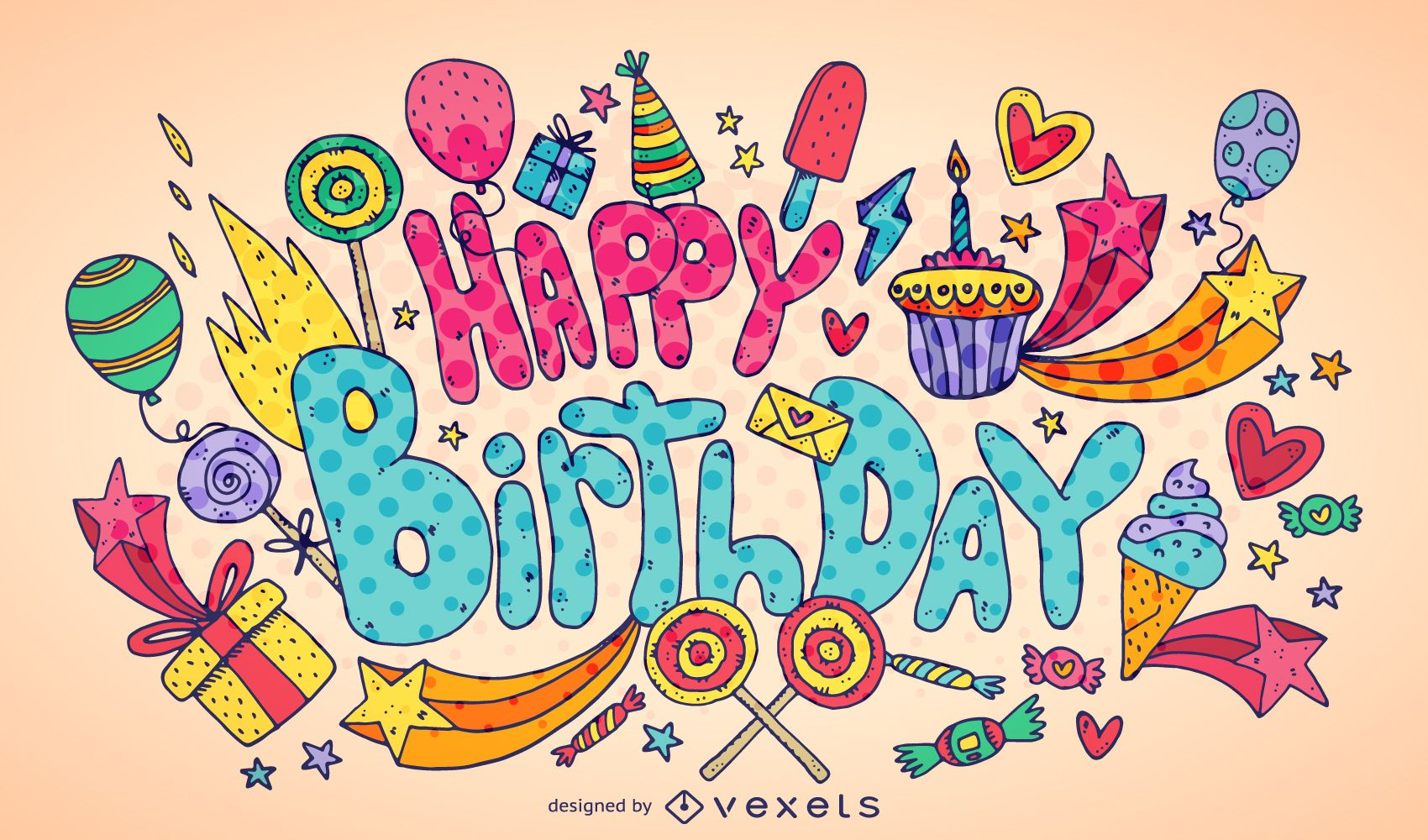 Kids Birthday Party Artistic Poster Design Vector Download