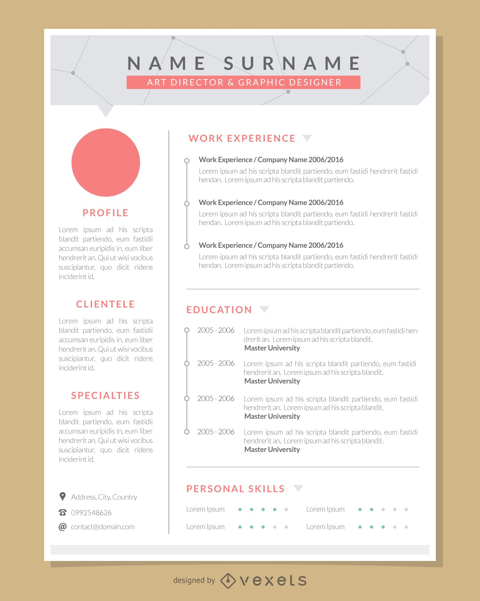 Graphic Designer Resume 2014 Graphic Artist Pro Resume Template Vector Download