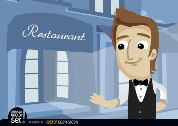 Waiter In Restaurant Entrance Vector Download