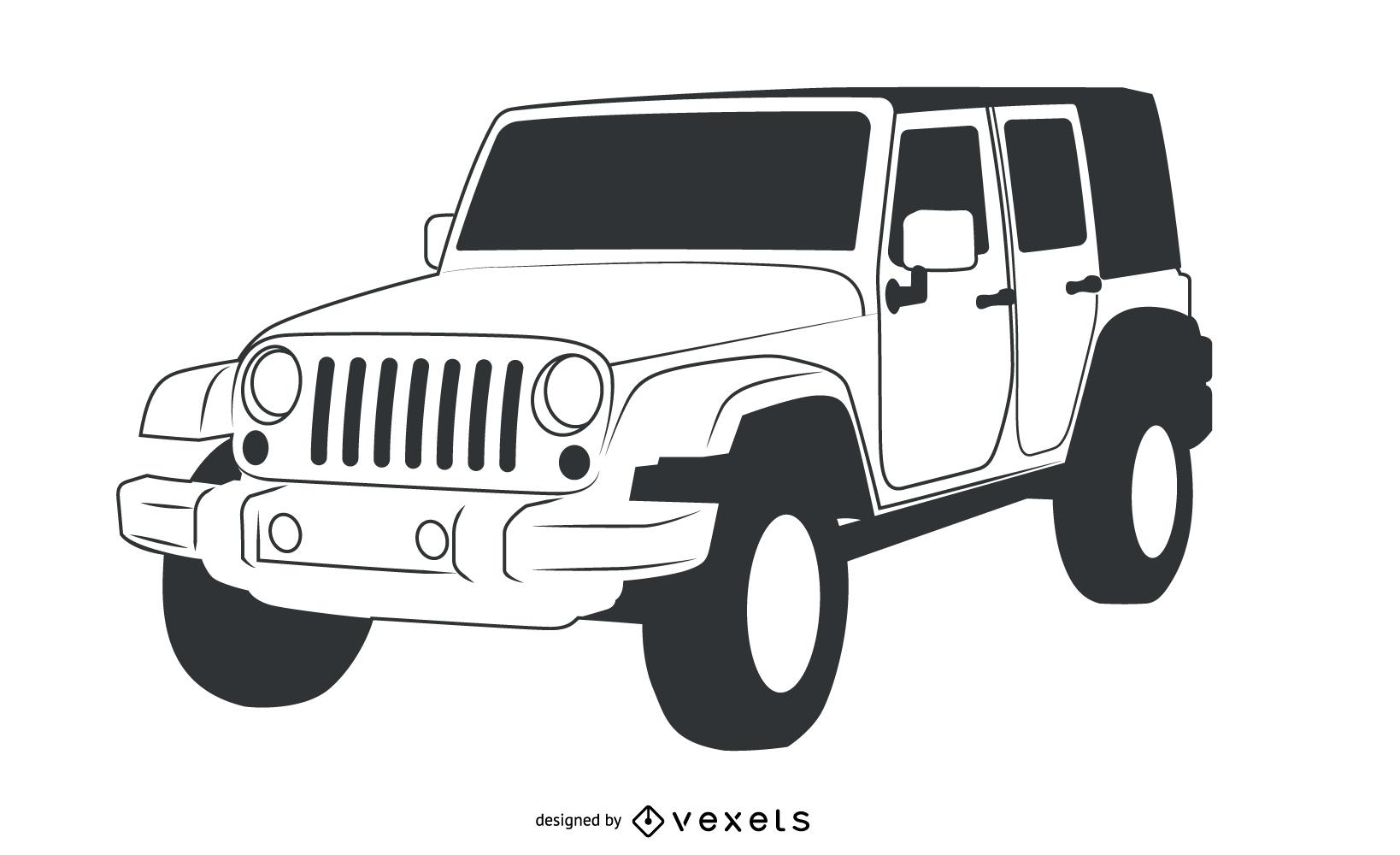 Mao De Traco Preto E Branco Jeep Wrangler