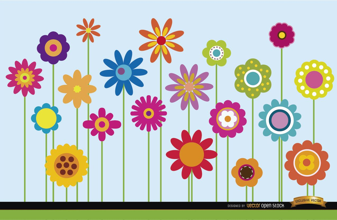 Cute Wallpapers For Springtime Different Flowers Stems Background Vector Download