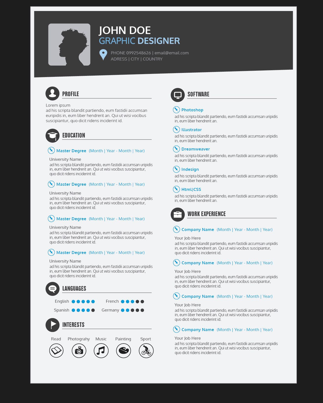 Graphic Designer Resume Templates Graphic Designer Resume Cv Vector Download