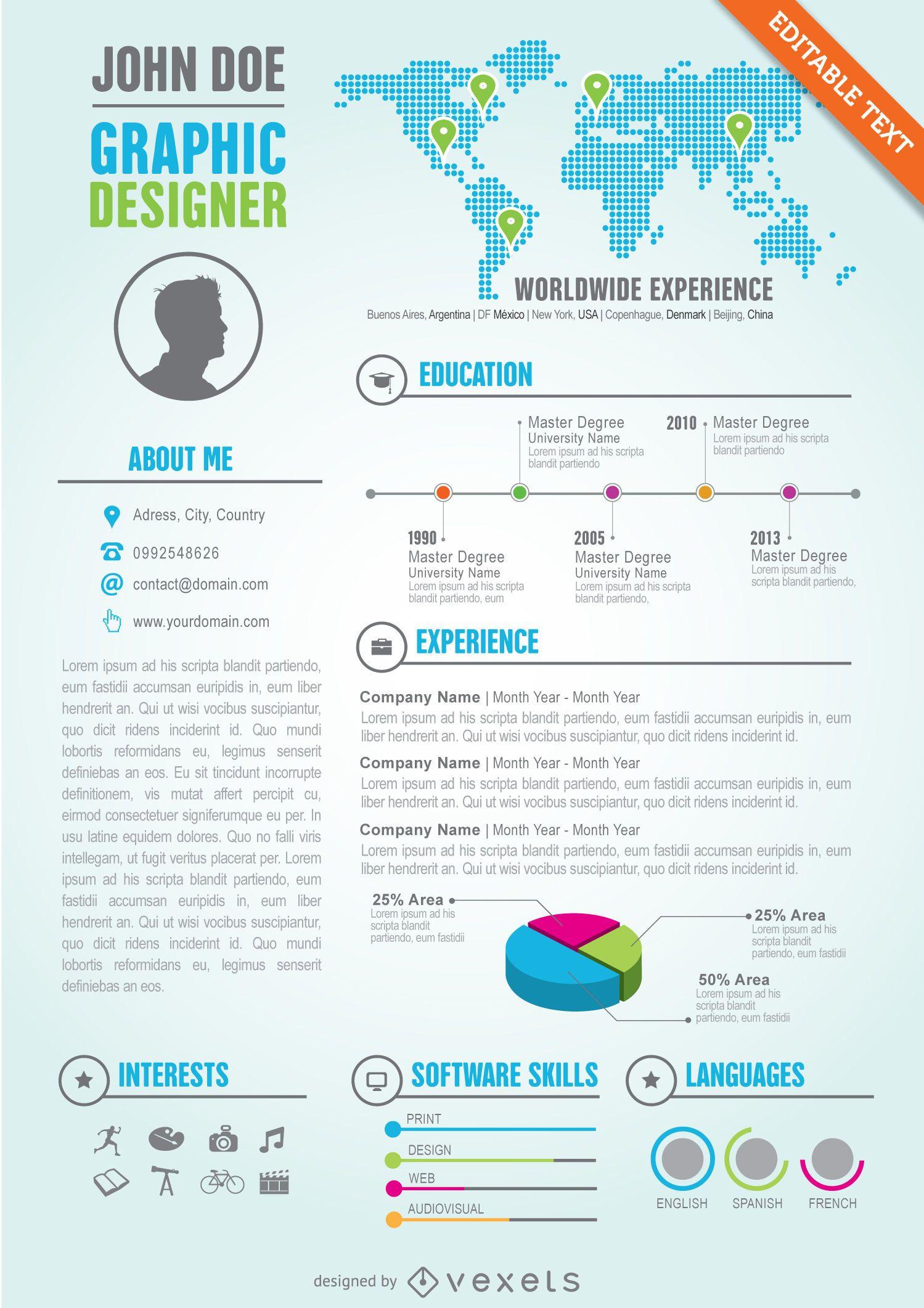 Graphic Designer Editable Resume Cv Template Vector Download