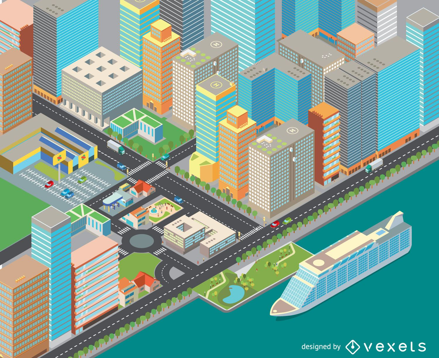 Isometric cost cityscape  Vector download