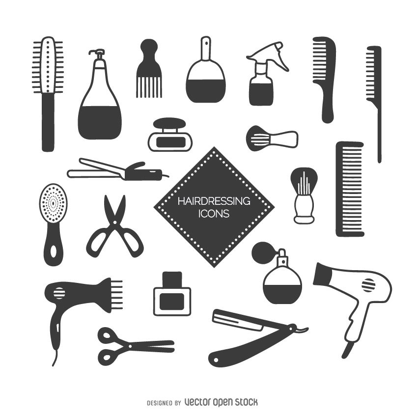 hairdressing icon set vector