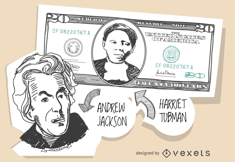 20 Dollar Bill With Harriet Tubman