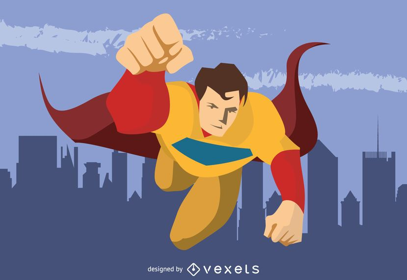 Superhero Flying Character Drawing Vector Download