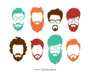 hipster hairstyle set - vector