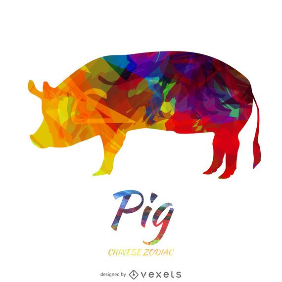 Colored Pig Chinese Zodiac Vector Download
