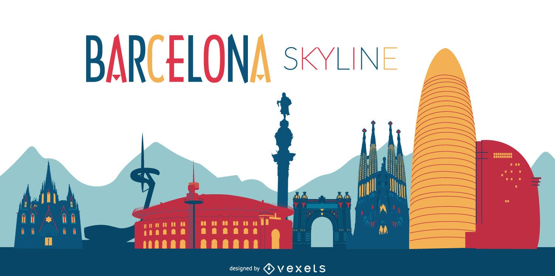Colorida ilustracin horizonte de Barcelona  Descargar vector