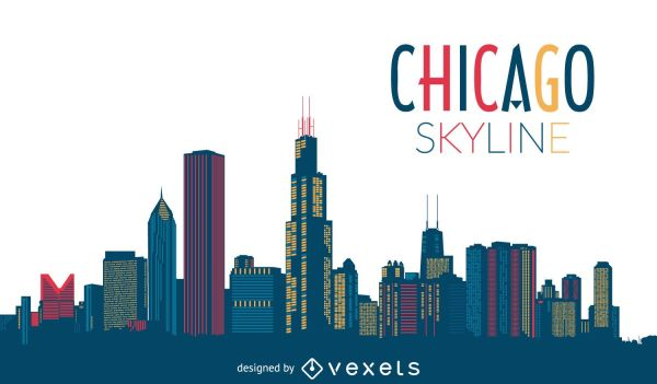 Chicago Skyline Silhouette - Vector