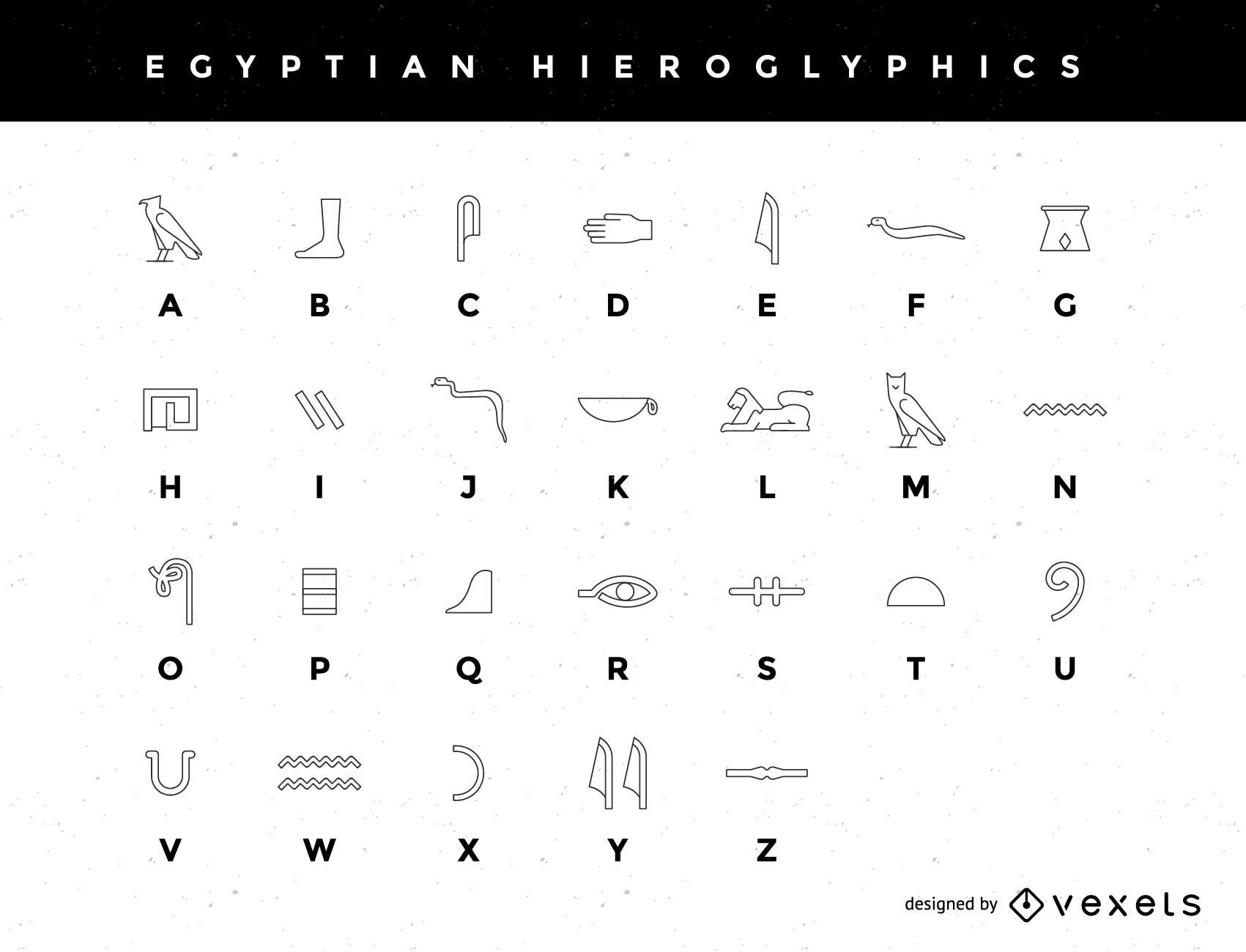 A Stylized Egyptian Hieroglyphic Alphabet Vector Download