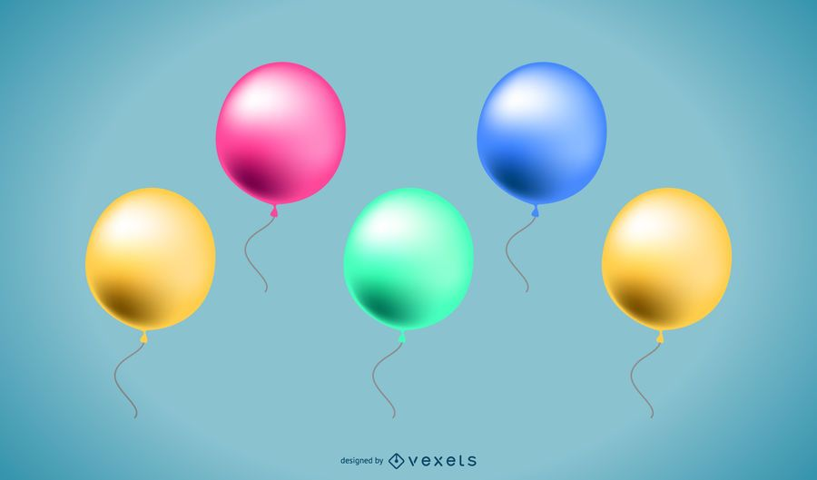 3d balloons collection vector