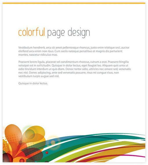 Colorful Swirls Footer Page Template  Vector download