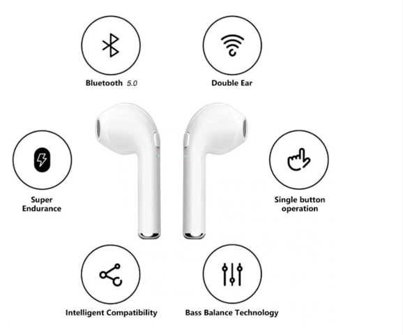 i7S wireless headphones compatible with IPHONE-SAMSUNG