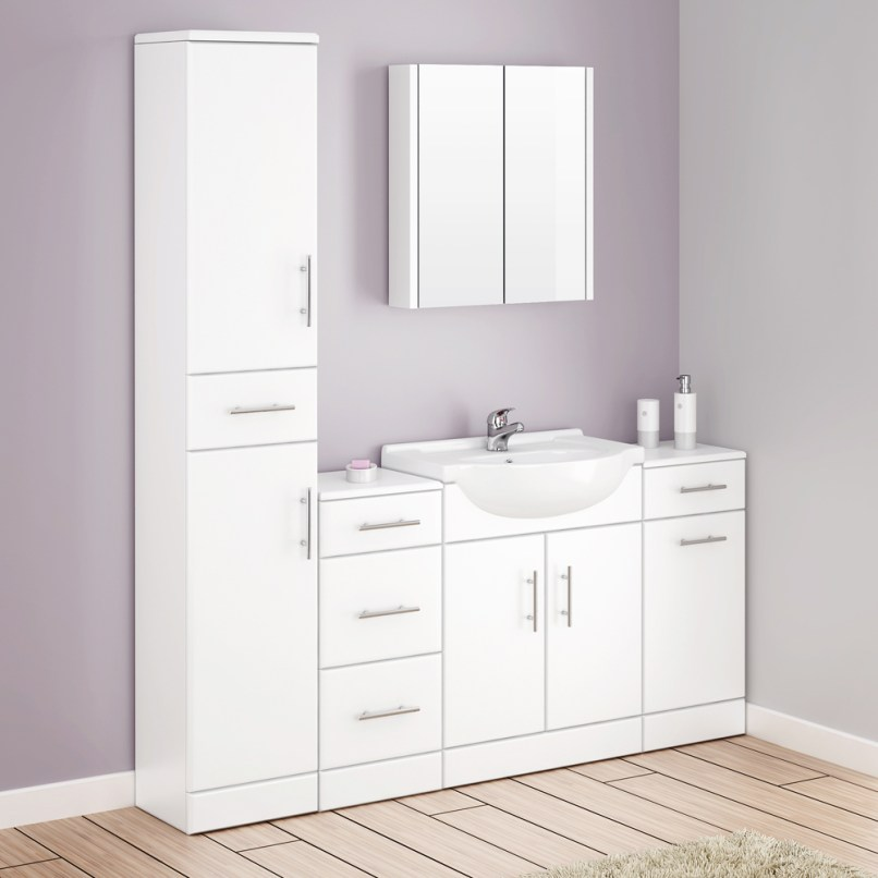 White gloss bathroom cabinets uk for Bathroom cabinet 900mm high