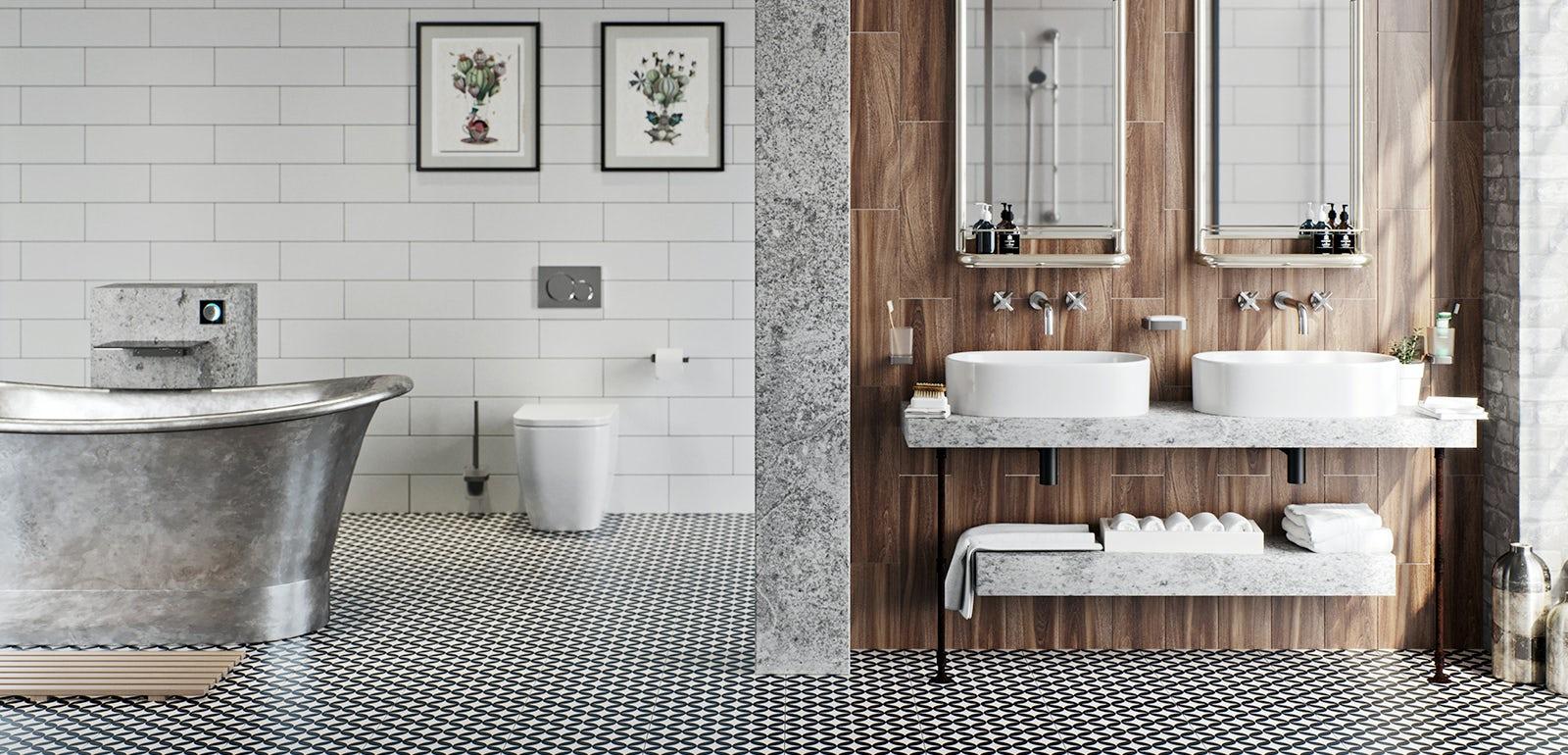 bathroom ideas soft industrial