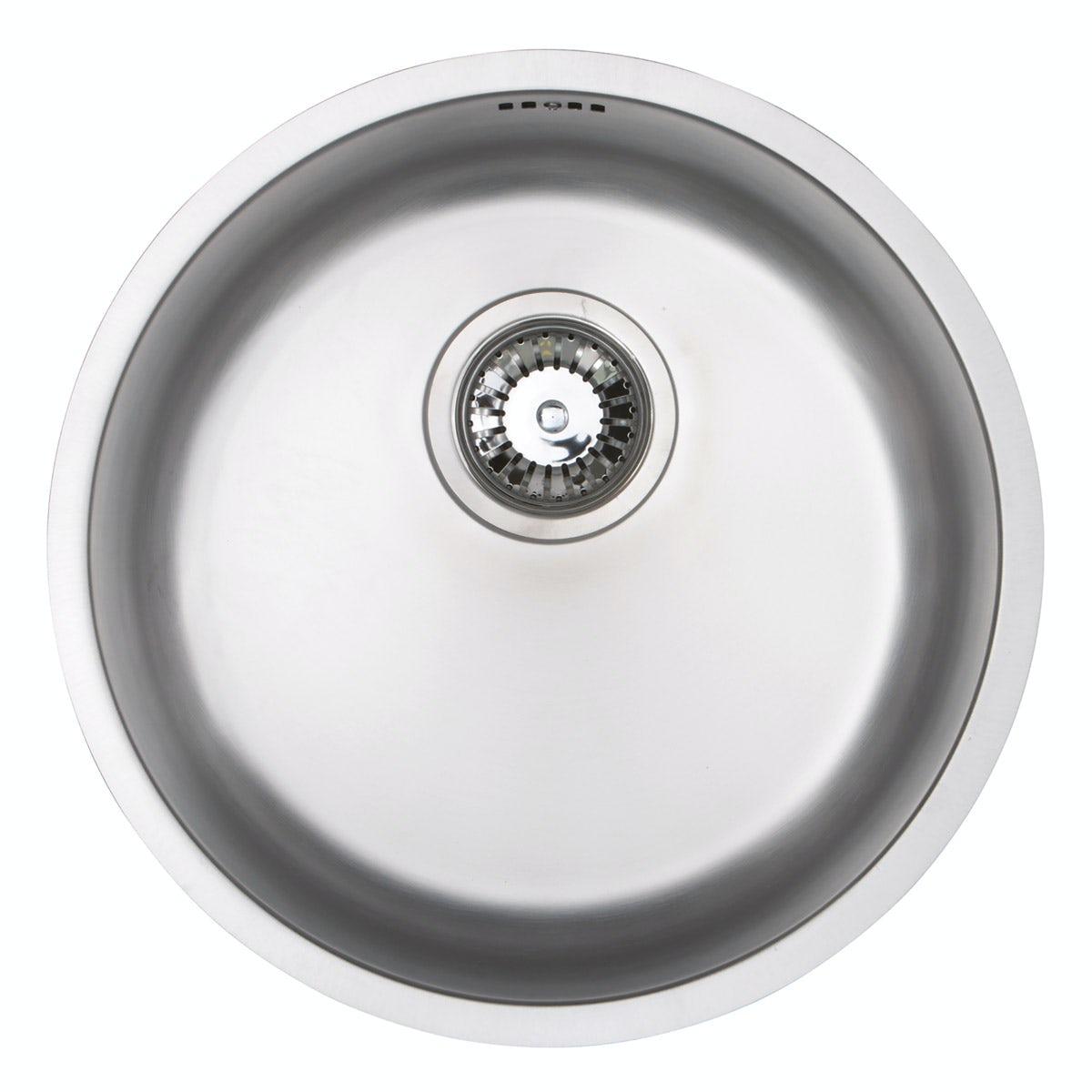 schon rydal classic round undermount single bowl stainless steel kitchen sink with waste 390 x 390