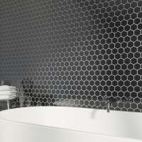British Ceramic Tile Mosaic hex black gloss tile 300mm x ...