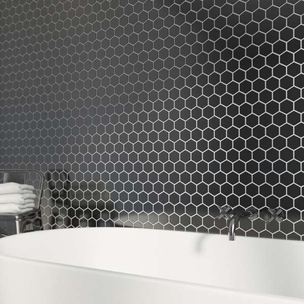 british ceramic tile mosaic hex black