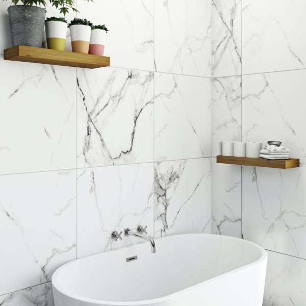 polar white marble effect matt wall and floor tile 600mm x 600mm
