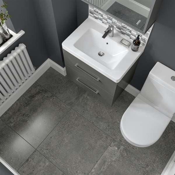 michigan dark grey stone effect matt wall and floor tile 600mm x 600mm