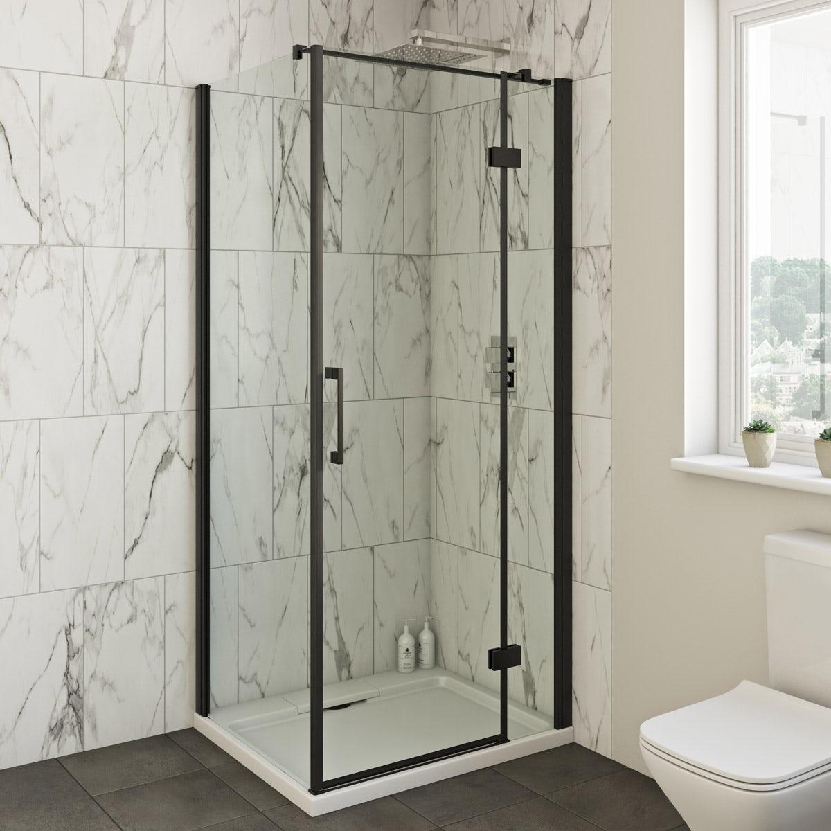 Mode Cooper Black Hinged Shower Enclosure Victoriaplum Com