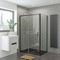 Mira and Mode black shower enclosure and slate effect tray ...