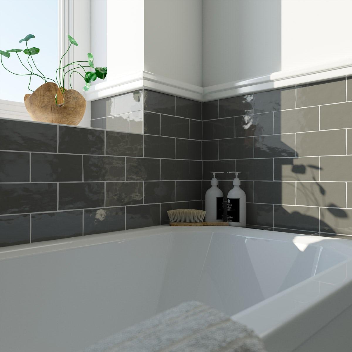 Laura Ashley Artisan charcoal grey gloss wall tile 75mm x