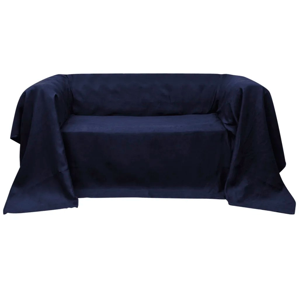 navy blue sofa bed uk best rated companies vidaxl co micro suede couch slipcover 210 x