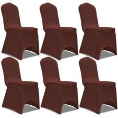 Stretch Chair Covers Australia Cute Living Room Chairs Vidaxl Co Uk Cover 6 Pcs Brown