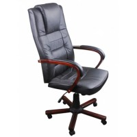 Black Office Chair Artificial Leather Height Adjustable ...